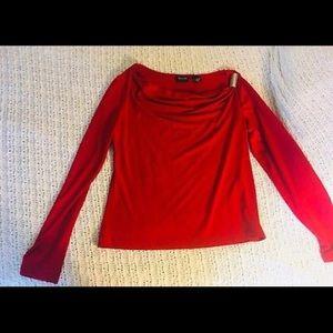 New York & Company Medium Long Sleeve Red Shirt